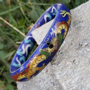 Rare Vtg Chinese Dragon Ornate Cloisonne Bracelet